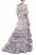 Tiered Floral-Printed Organza Gown