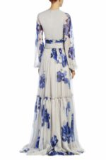 Blaire PS1910 grey chiffon tiered gown with blue flowers and long sleeves