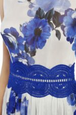 Brinnie PS1912 grey floral printed chiffon dress with blue guipure lace