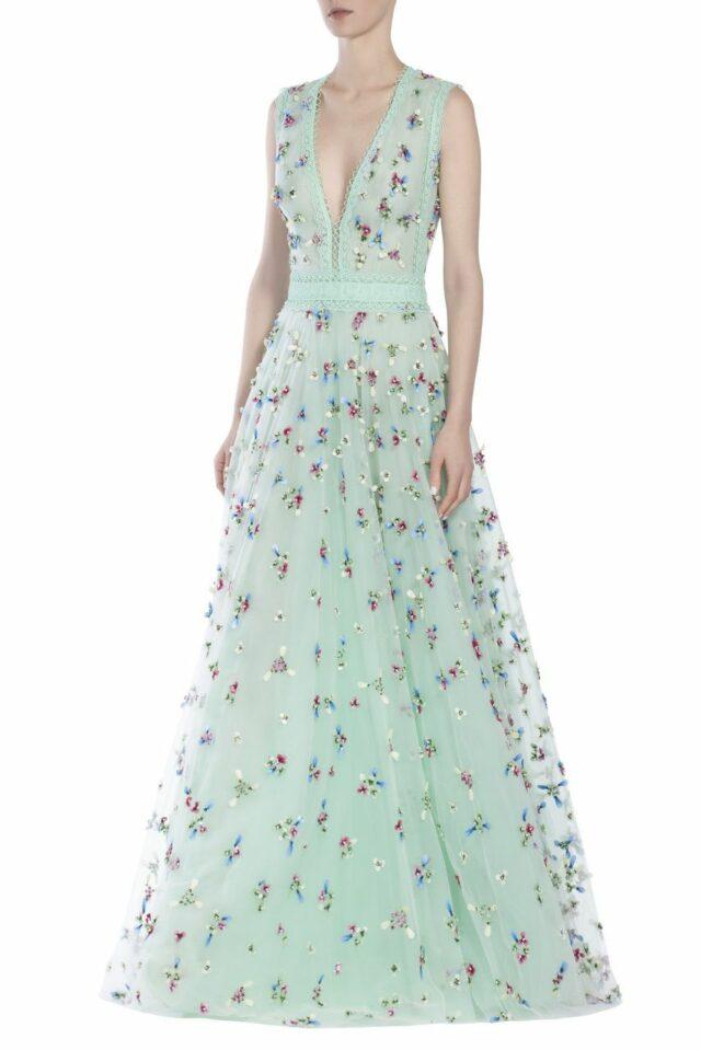 Petal-Embellished Silk Tulle Gown