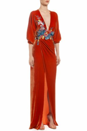 terracotta silk velvet floral embroidered plunge dress with fron slit, Anka FW 1931