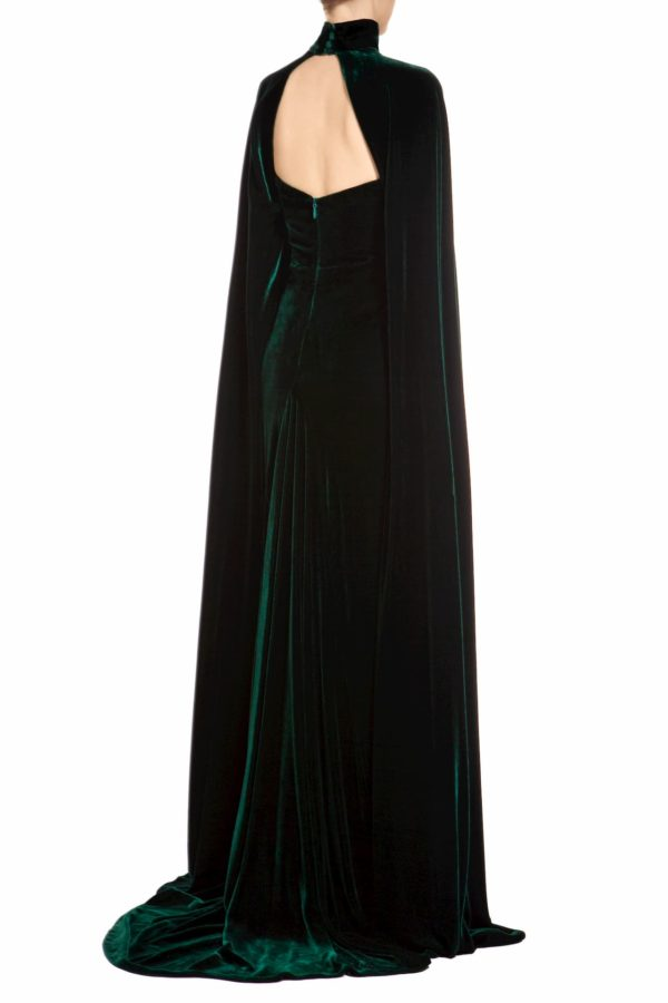 Emerald green strapless crystal-embellished silk velvet dress with slit & cap-sleeve shrug, Aranaelle FW 1933 & Thissa FW 1939