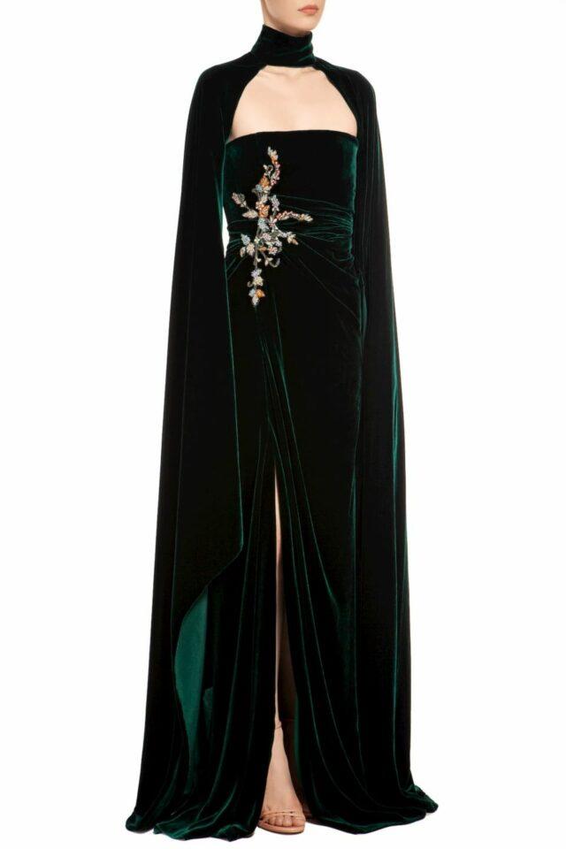 Emerald green strapless crystal-embellished silk velvet dress with slit & cap-sleeve shrug, Aranaelle FW 1933 & Thissa FW 1939