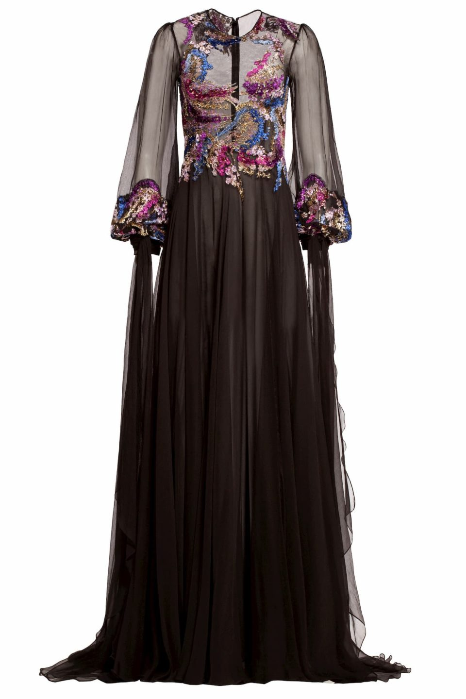 Black velvet devore and silk chiffon dress with illusion neckline and extended cuff ties, Aya FW 1915