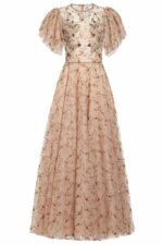 Beige and pink flower embroidered french tulle dress with crystal and pearl embellishments, Julyn PR 1981