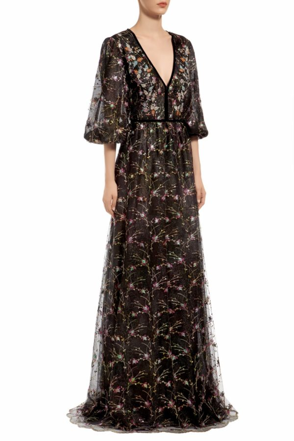 Black flower embroidered french tulle dress with crystal embellishments, Noleen PR 1980