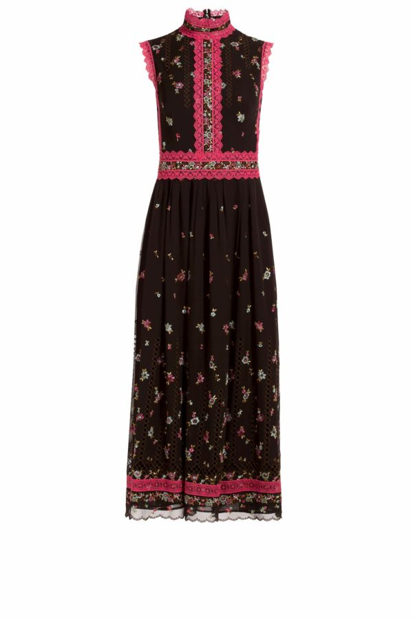 black high neck sleeveless A-line midi dress with embroidered flowers and fuchsia trim, Lillias PR 1956