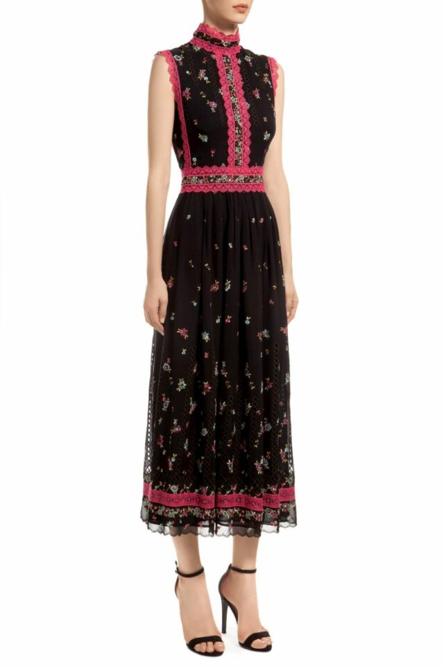 black high neck sleeveless A-line midi dress with embroidered flowers and fuchsia trim, Lillias PR 1956