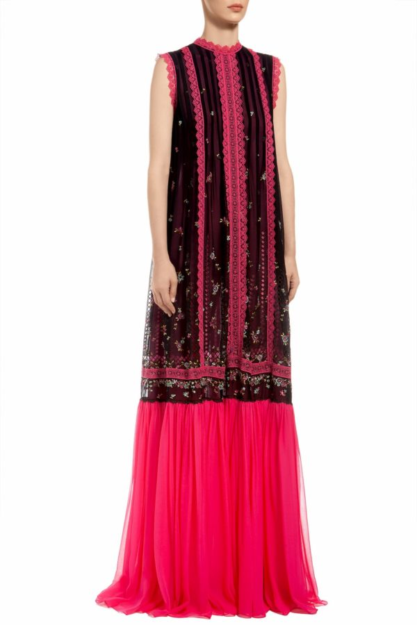 Black sleeveless caftan dress with embroidered flowers, fuchsia embroidered lace and a silk chiffon skirt, Lucia PR 1957