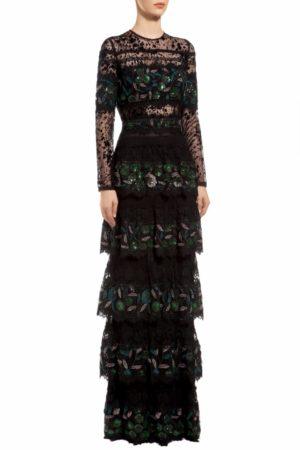 Black flocked tulle tiered green sequin dress, Edith PR 1973