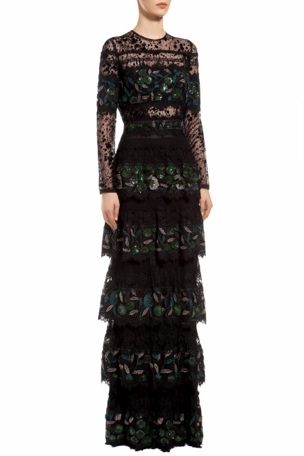 Black flocked tulle tiered green sequin dress, Edith PR 1973