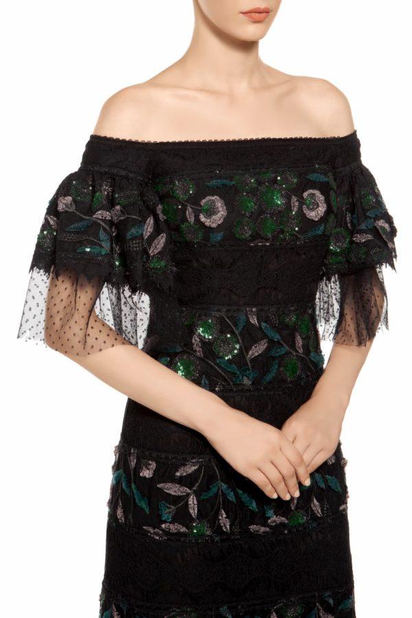 Black and green off-shoulder puff sleeve sequin mini dress, Ediline PR 1972