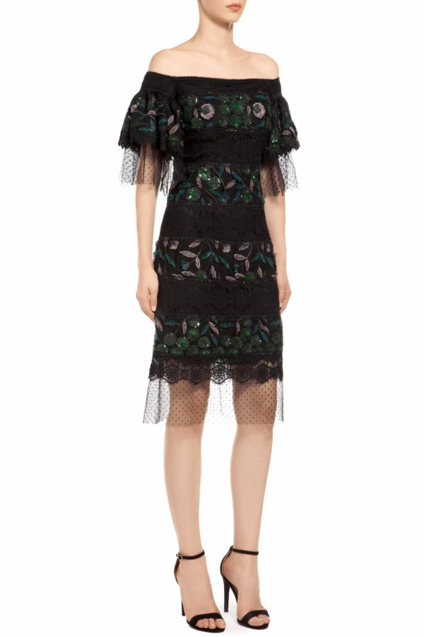 Black and green off-shoulder puff sleeve sequin mini dress, Ediline PR 1972