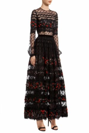 Black dotted tiered tulle signature dress with sequin florals, Josene PR 1971