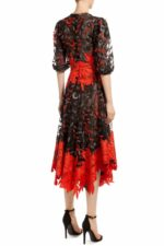 Black floral sequin handkerchief tulle dress with contrasting Guipure leaf-motif lace trim, Jossanor PR 1970