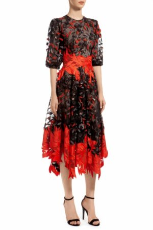 Black floral sequin handkerchief tulle dress with contrasting Guipure leaf-motif lace trim, Jossanor PR 1970