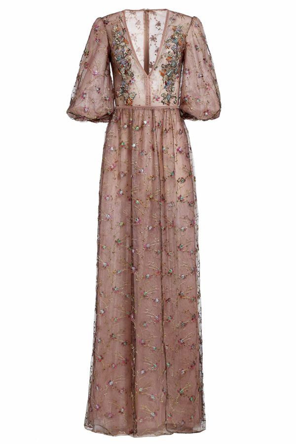 Dusty Pink flower embroidered french tulle dress with crystal embellishments, Noleen PR 1980