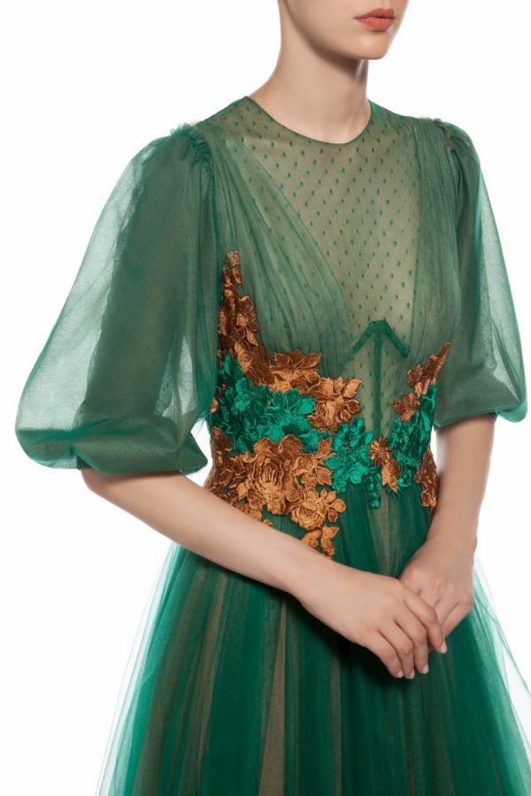 Camel and green two tone layered tulle dress with flower appliques, Jatherine PR 1967