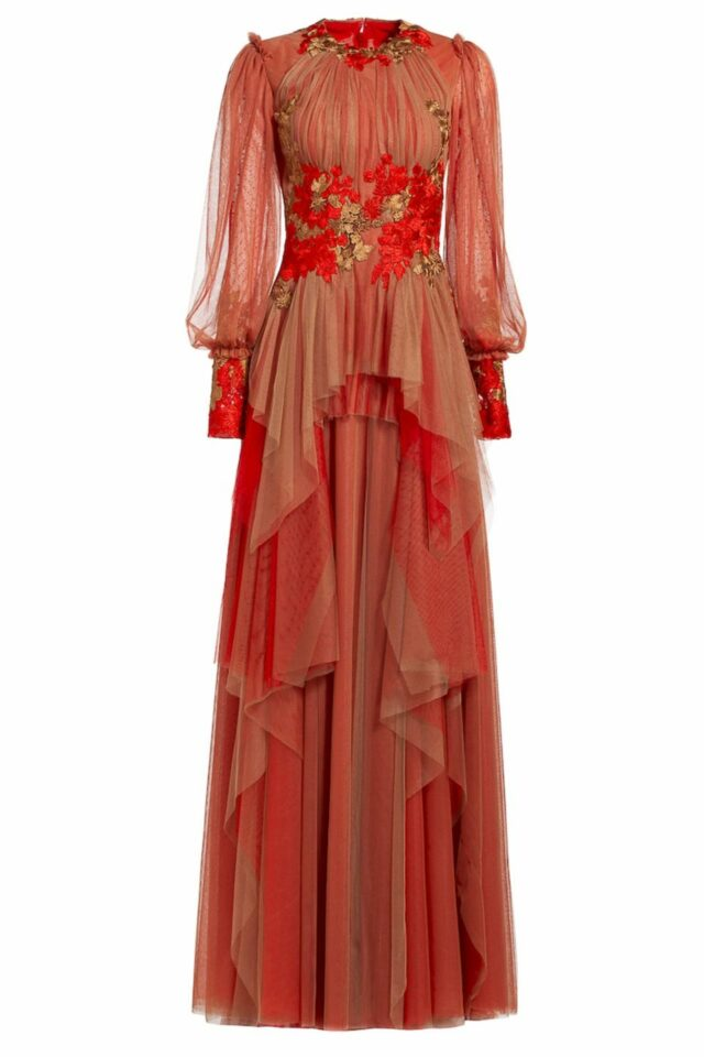 Camel and red long sleeve two tone asymmetric tulle dress with flower appliques, Agustina PR 1966