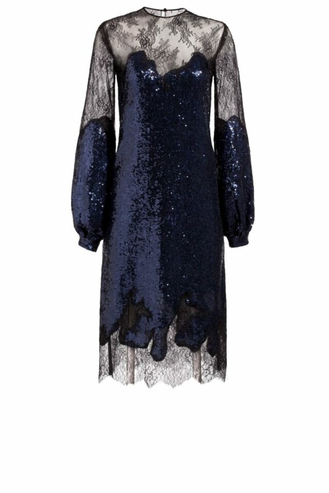 Deep blue sequin column midi dress with illusions sweetheart neckline and blacl Chantilly lace, Lucilla PR 1918