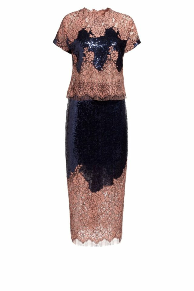 deep blue sequin crop top with pink cordone lace pr 1911