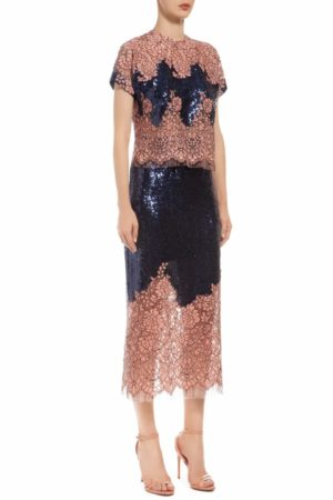 deep blue sequin skirt with pink cordone lace PR 1912
