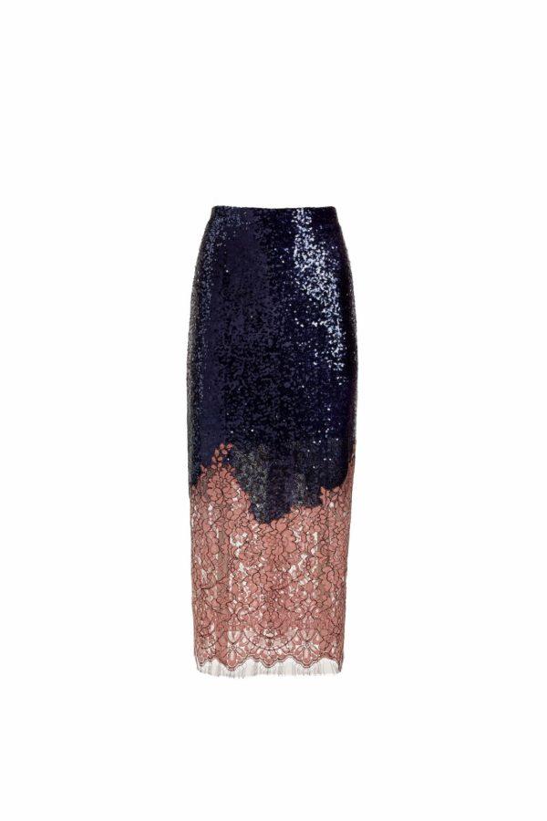 Deep blue sequin midi skirt with blush pink cordone lace hem, Gracelle PR 1912