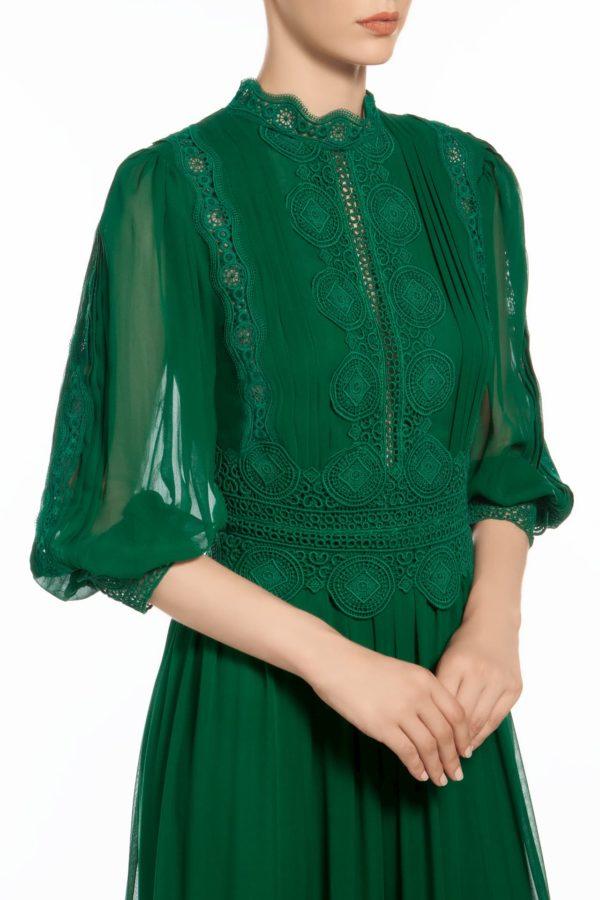 Emerald green mock neck blouson sleeve silk chiffon dress with Guipure lace trims, Hazelle PR 1939