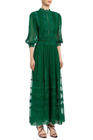 Emerald green mock neck blouson sleeve silk chiffon dress with Guipure lace trims, Hazelle PR 1939