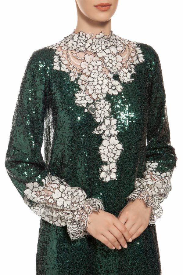 Emerald green mock neck long sleeve sequin midi dress with white cordone lace PR 1915