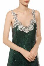 Emerald green scoop neck sequin midi dress with white cordone lace PR 1914