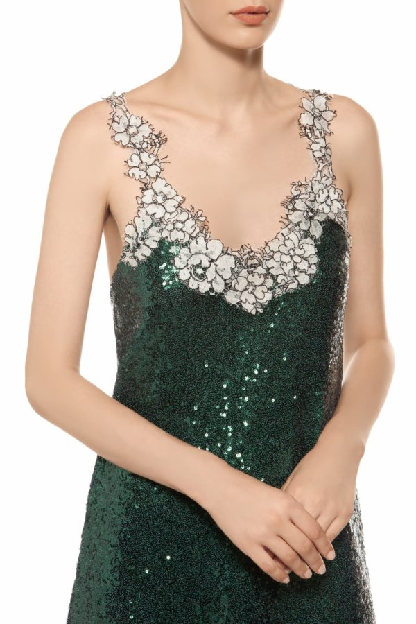 Emerald green scoop neck sequin midi dress with white cordone lace PR 1914