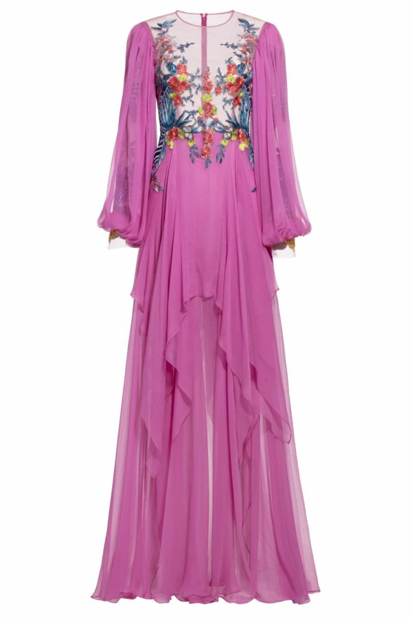 Gena pink floral embroidered silk chiffon dress FW 1935