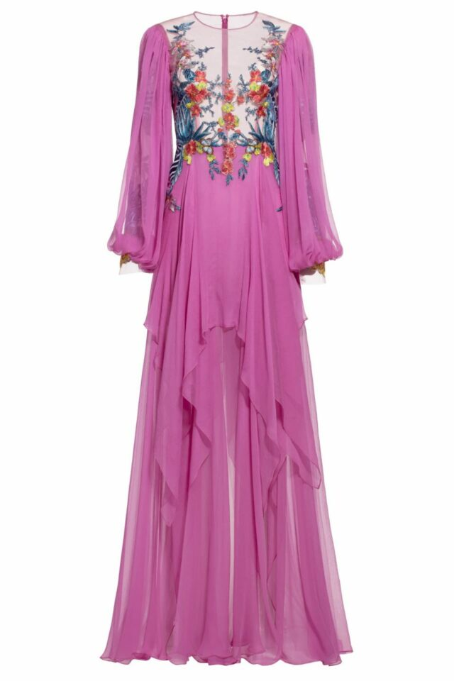 Gena pink floral embroidered silk chiffon dress FW 1935