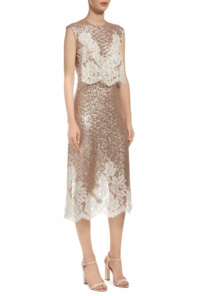 gold popover bodice sequin midi dress with beige cordone lace PR 1913