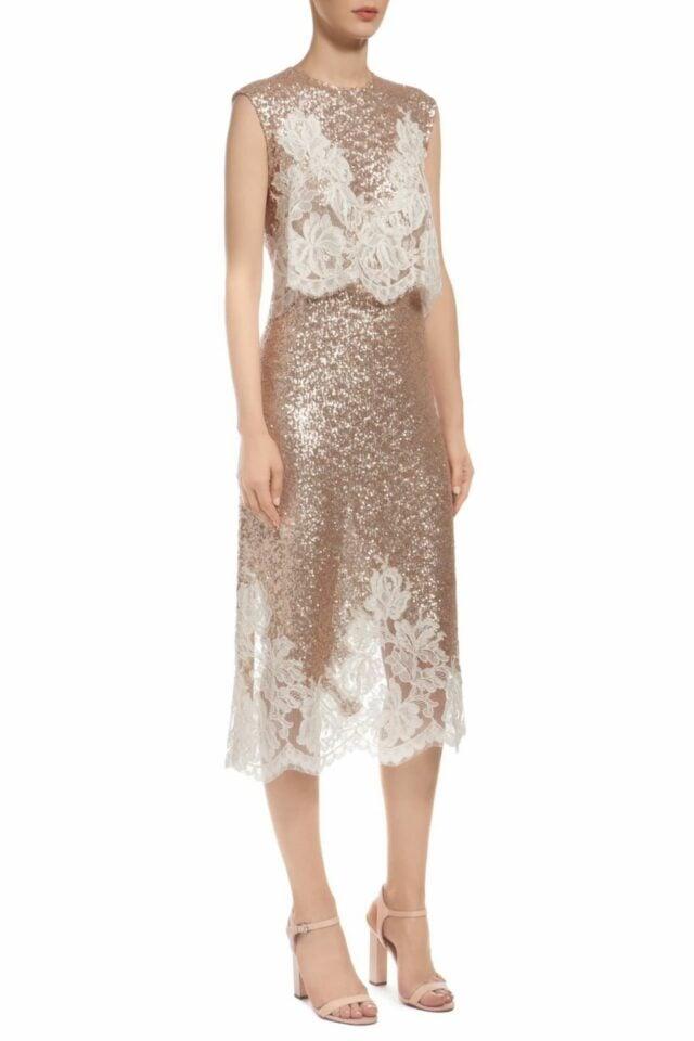 gold popover bodice sequin midi dress with beige cordone lace PR 1913