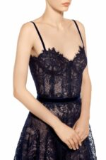Junabelle midnight blue gossamer lace bustier dress FW 1955