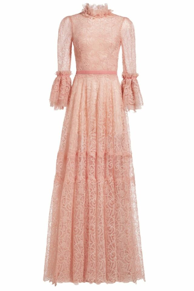 Kalle powder pink ruffled mock-neck gossamer lace dress FW 1954