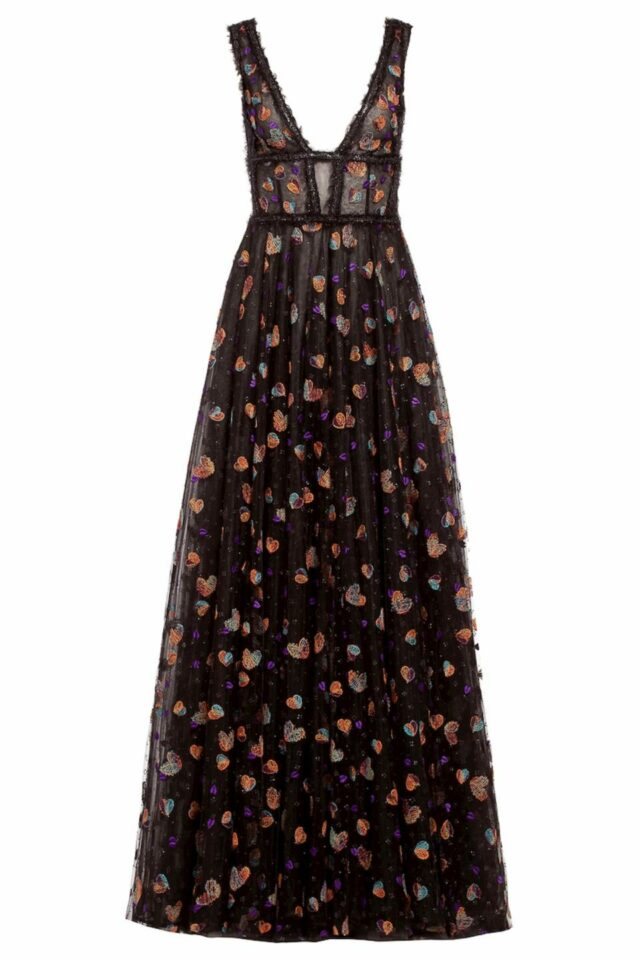 keina black glitter tulle dress with embroidery FW 1965
