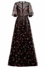 Koemi black glitter tulle dress with embroidery and beaded net FW 1966