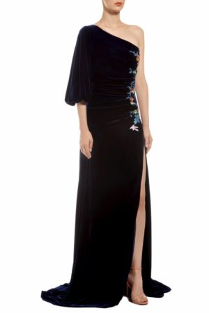 Blue one-shoulder silk velvet dress with ruched waist and floral embroidery, Minora FW 1932