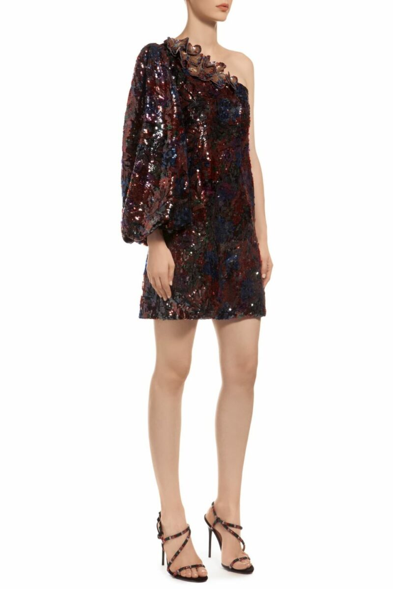 Multicolored blue one shoulder sequin mini dress with bishop sleeve, Revelyn PR 1930