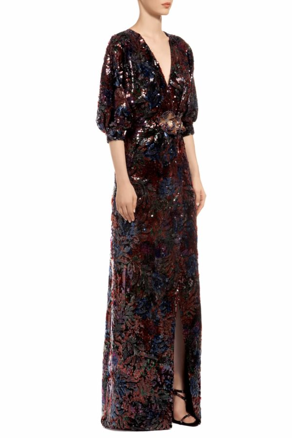 Multicolored blue sequin v-neck dress with high frontal slit and sequin flowers, Mollene PR 1931