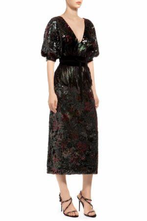 Multicolored green puff sleeve sleeve sequin midi dress, Josnie PR 1932