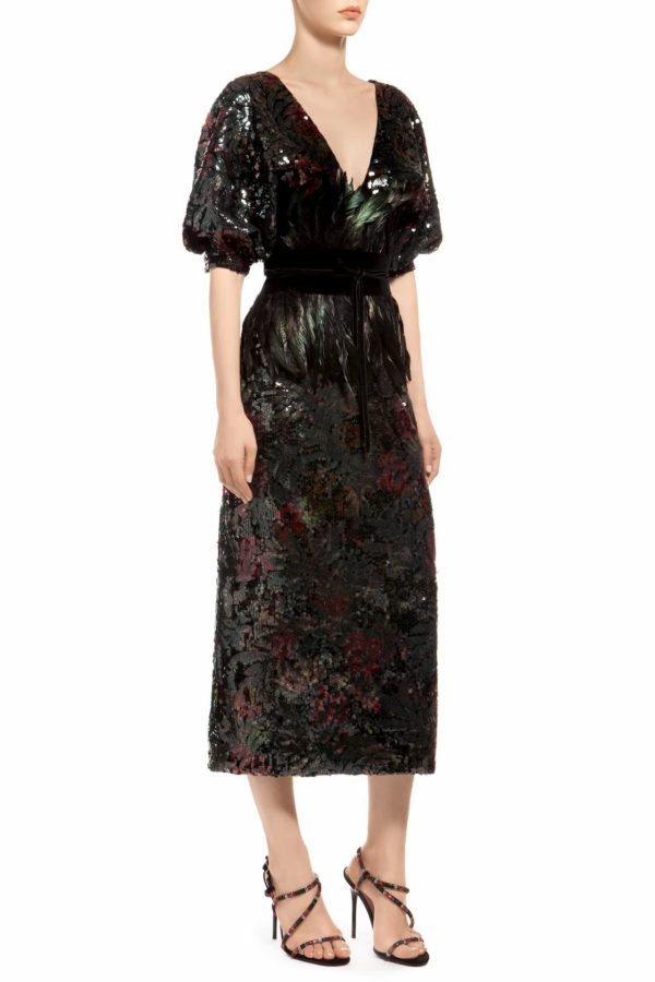 Multicolored green puff sleeve sleeve sequin midi dress, Josnie PR 1932