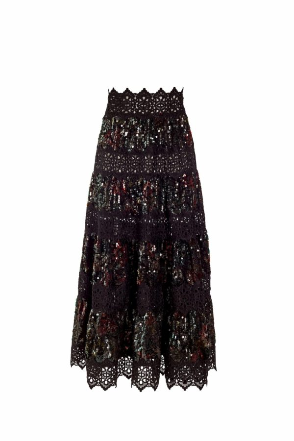 Multicolored green sequin and guipure lace a-line midi skirt, Norcilla PR 1933
