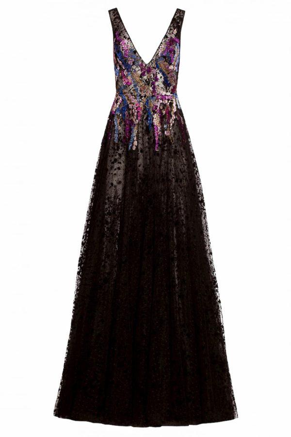 Black vneck flocked tulle dress with velvet devore motifs, Renice FW 1916