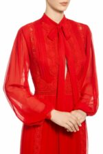 Ruby red peek-a-boo bow tie silk chiffon dress with guipure lace trim and bishop sleeves, PR 1938 Rozanelle
