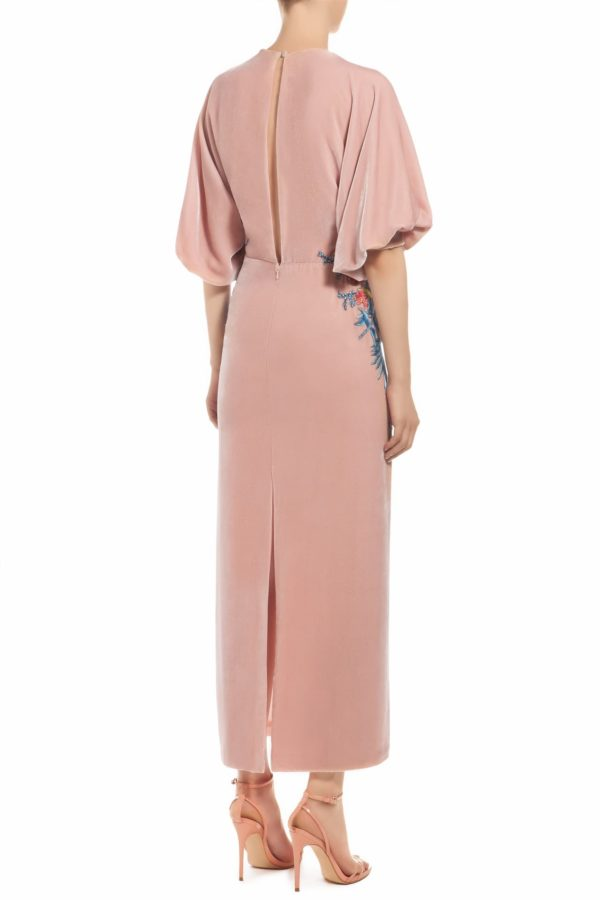 Pink silk velvet empire-waist plunging neckline dress with wild floral embroidery and blouson sleeves, Sakura FW 1930