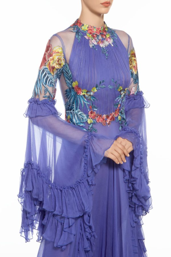 Sorana blue floral embroidered silk chiffon dress FW 1936